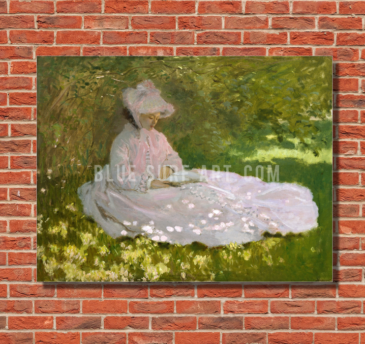 Springtime, 1872. Reproduction Oil Painting on Canvas  I  Blue Surf Art - red brick wall