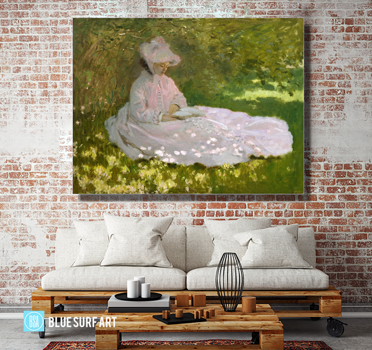 Springtime, 1872. Reproduction Oil Painting on Canvas  I  Blue Surf Art - living room showcase