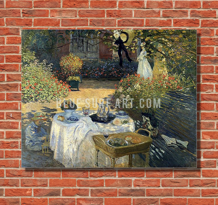Monet Luncheon, 1973. Reproduction Oil Painting on Canvas I Blue Surf Art - red bricks