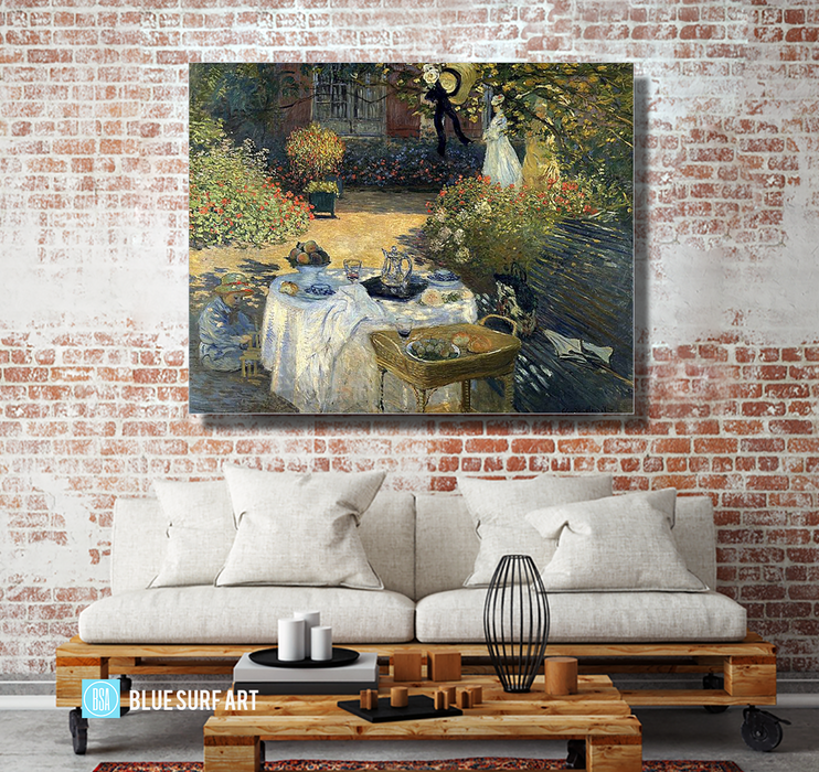 Monet Luncheon, 1973. Reproduction Oil Painting on Canvas I Blue Surf Art - living room