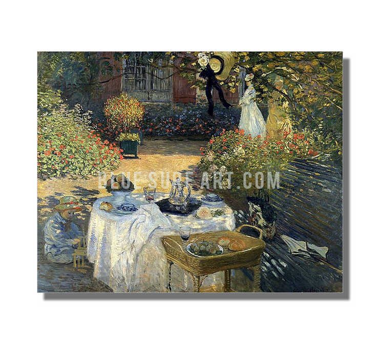 Monet Luncheon, 1973. Reproduction Oil Painting on Canvas I Blue Surf Art - white background