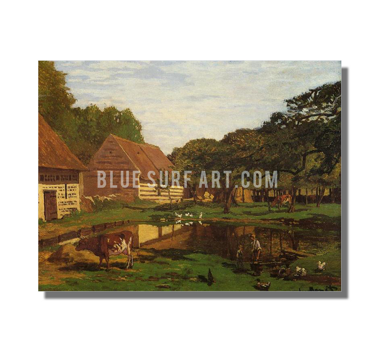 A Farmyard in Normandy, c.1863. Reproduction Oil Painting on Canvas I Blue Surf Art - White Background