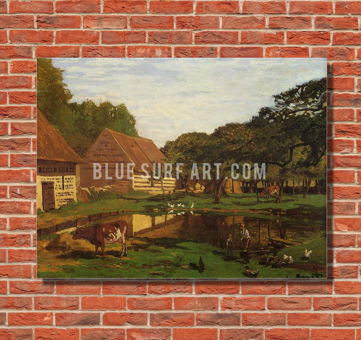 A Farmyard in Normandy, c.1863. Reproduction Oil Painting on Canvas I Blue Surf Art - Red bricks