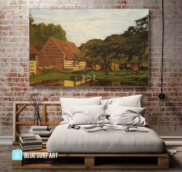 A Farmyard in Normandy, c.1863. Reproduction Oil Painting on Canvas I Blue Surf Art - Bedroom