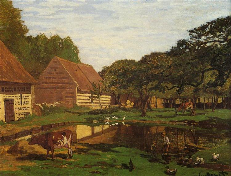 A Farmyard in Normandy, c.1863. Reproduction Oil Painting on Canvas I Blue Surf Art