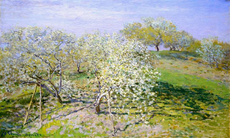 Apple Trees In Blossom, 1873. Reproduction Oil Painting on Canvas I Blue Surf Art