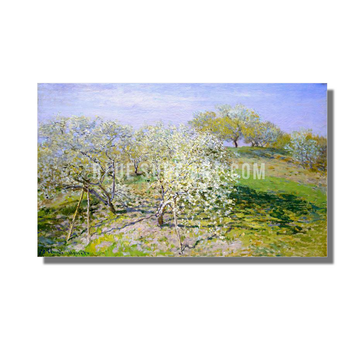 Apple Trees In Blossom, 1873. Reproduction Oil Painting on Canvas I Blue Surf Art - white background