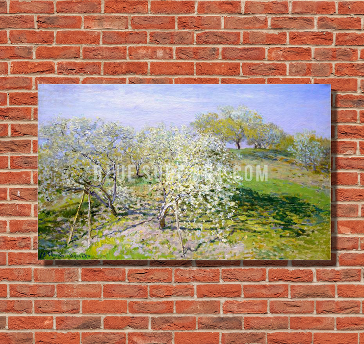 Apple Trees In Blossom, 1873. Reproduction Oil Painting on Canvas I Blue Surf Art - red bricks