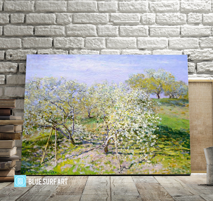 Apple Trees In Blossom, 1873. Reproduction Oil Painting on Canvas I Blue Surf Art - showcase