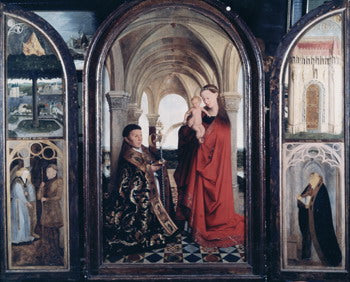 Madonna of Nicolas van Maelbeke by Jan Van Eyck Reproduction Painting by Blue Surf Art