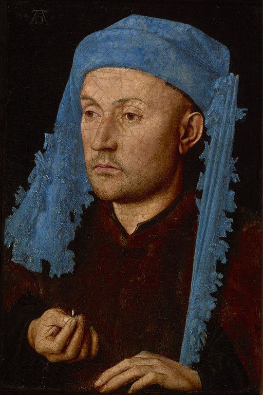 Portrait of a Man with a Blue Chaperon by Jan Van Eyck Reproduction Painting by Blue Surf Art by Jan Van Eyck Reproduction Painting by Blue Surf Art
