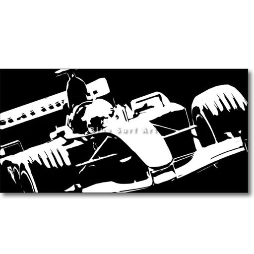 Formula One Black Oil Painting on Canvas
