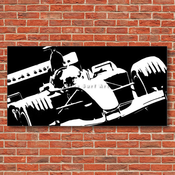 Formula One Black Oil Painting on Canvas - red bricks wall