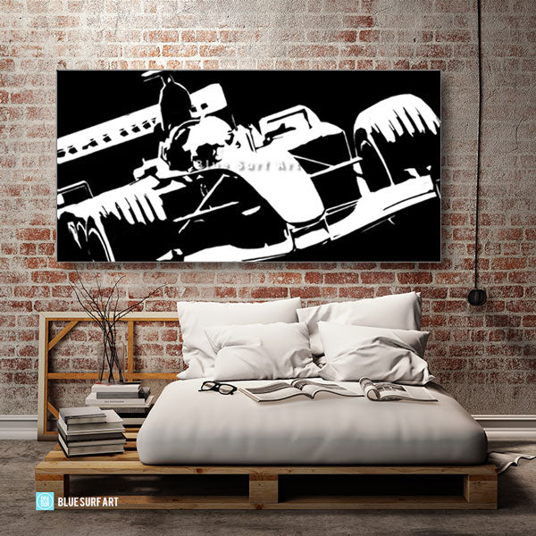 Formula One Black Oil Painting on Canvas - loft bedroom