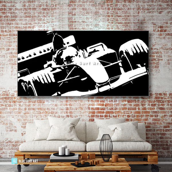 Formula One Black Oil Painting on Canvas - living room showcase