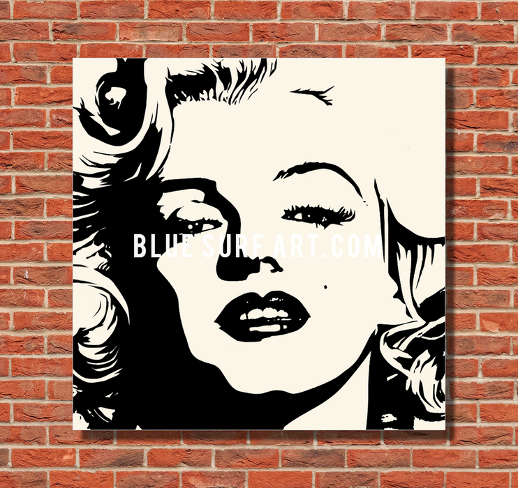 Marilyn Monroe oil painting on canvas by Blue Surf Art - 2 red bricks wall