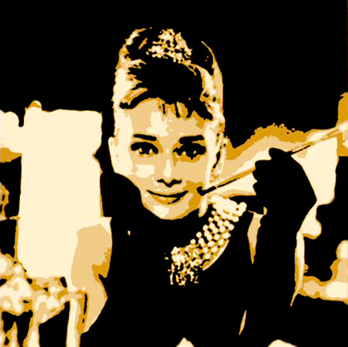 Breakfast at Tiffany Audrey Hepburn Wall Art Home Decor, 100% Oil Painting on Canvas