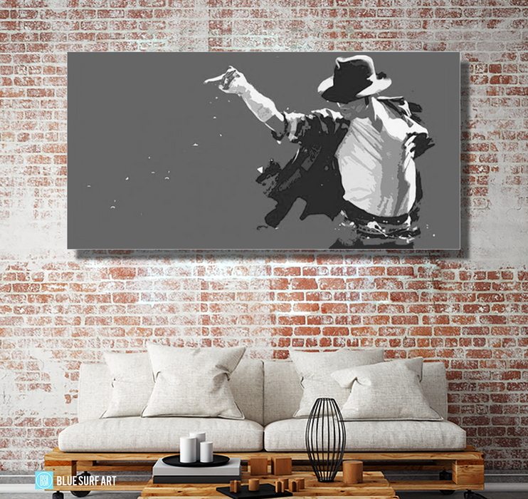 This is it! - Grey - Michael Jackson Oil Painting on Canvas by Blue Surf Art 2