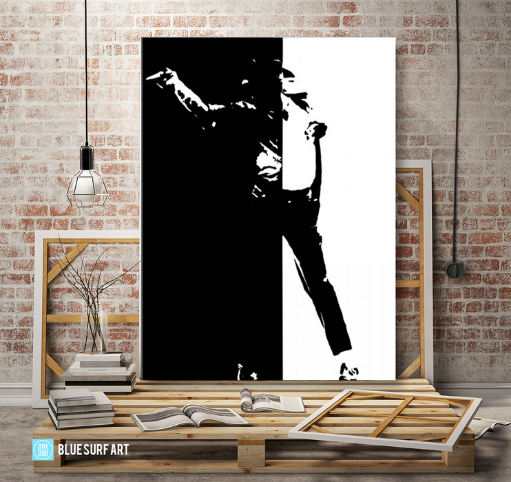 Black or White - Michael Jackson Oil Painting on Canvas by Blue Surf Art -5