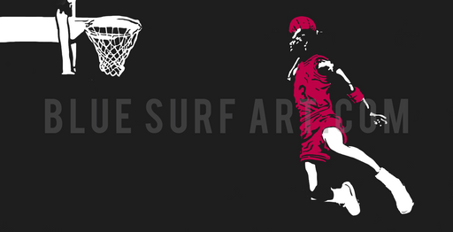 Slam-Dunk in Color - Michael Jordan Oil Painting on Canvas by Blue Surf Art