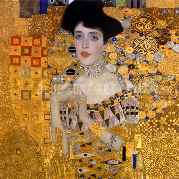 Portrait of Adele Bloch-Bauer I by Gustav Klimt, Reproduction Oil Painting on Canvas - close up