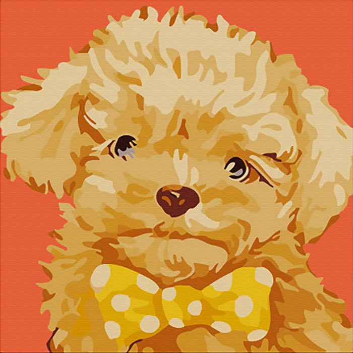Fluffy Puppy Canvas Art Painting, Animal Pop Art, Room Decor, Wall Art - showcase