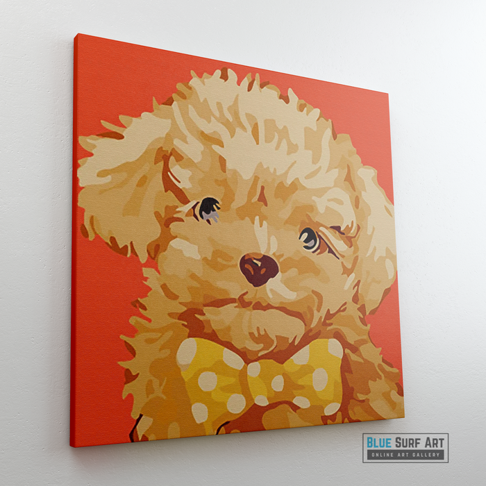 Fluffy Puppy Canvas Art Painting, Animal Pop Art, Room Decor, Wall Art - sideway