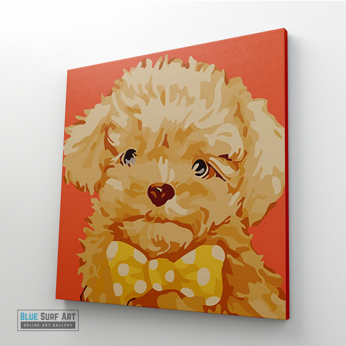 Fluffy Puppy Canvas Art Painting, Animal Pop Art, Room Decor, Wall Art - side angle