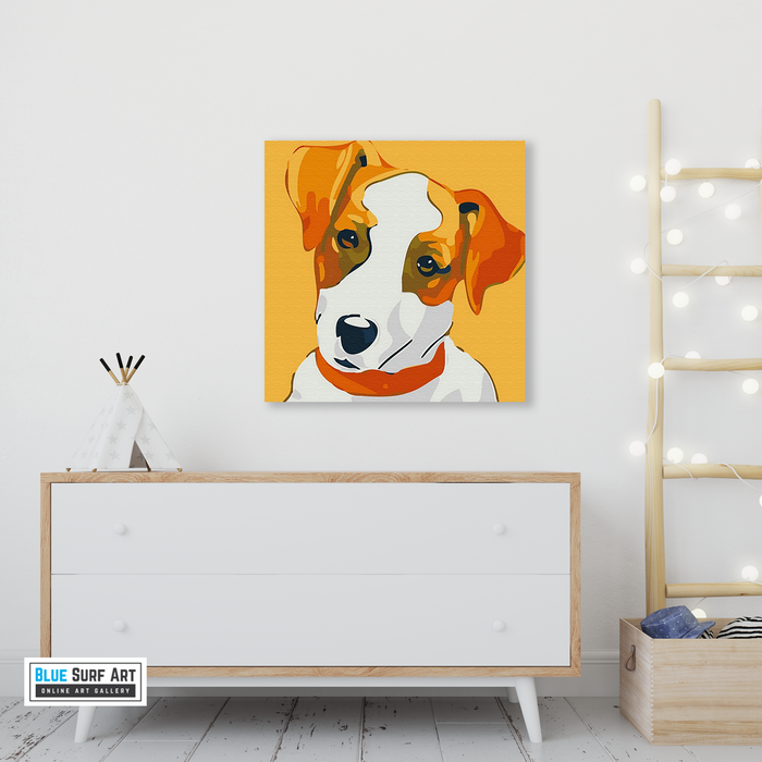 Cute Puppy Canvas Art Painting, Animal Pop Art, Room Decor, Wall Art - living room