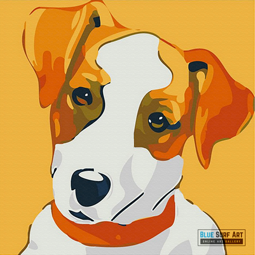 Cute Puppy Canvas Art Painting, Animal Pop Art, Room Decor, Wall Art