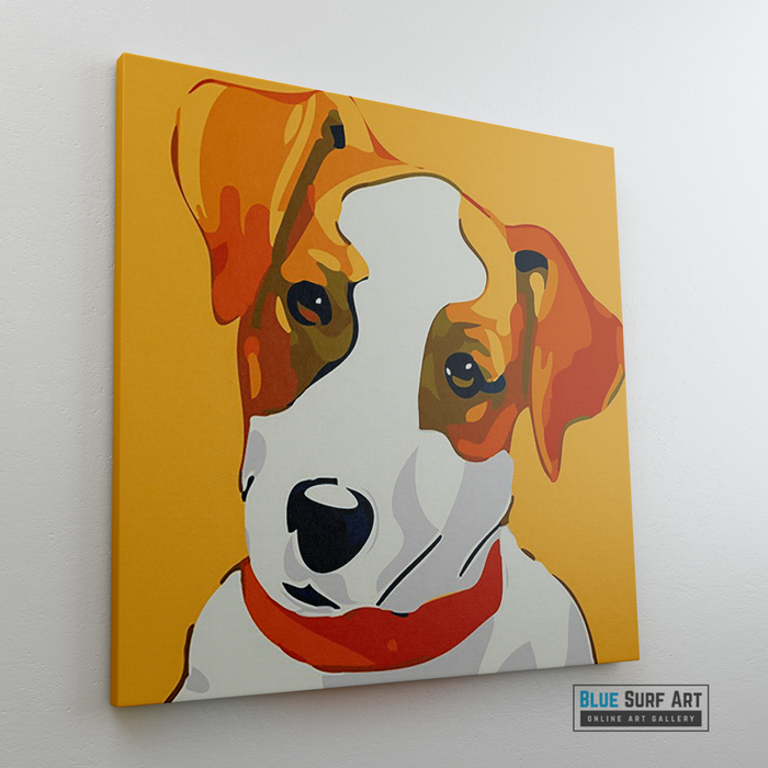 Cute Puppy Canvas Art Painting, Animal Pop Art, Room Decor, Wall Art - left side