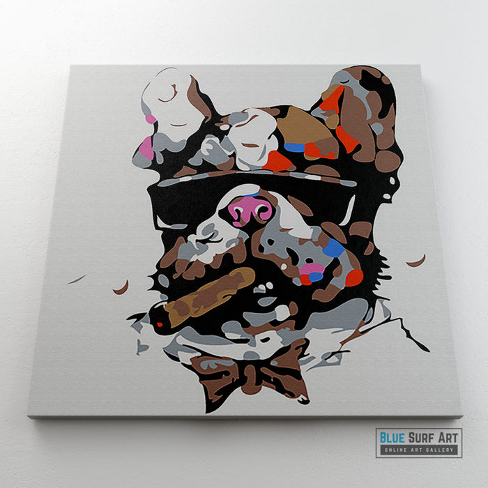 Dog with Sunglasses & Cigar Canvas Art Painting, Animal Pop Art, Room Decor, Wall Art - showcase