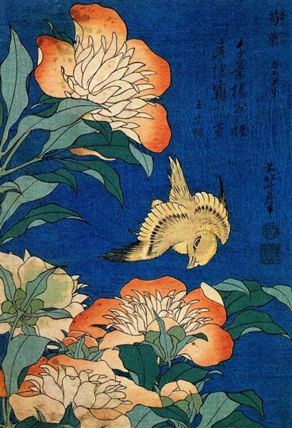 Canary and Peony by Katsushika Hokusai Reproduction Painting