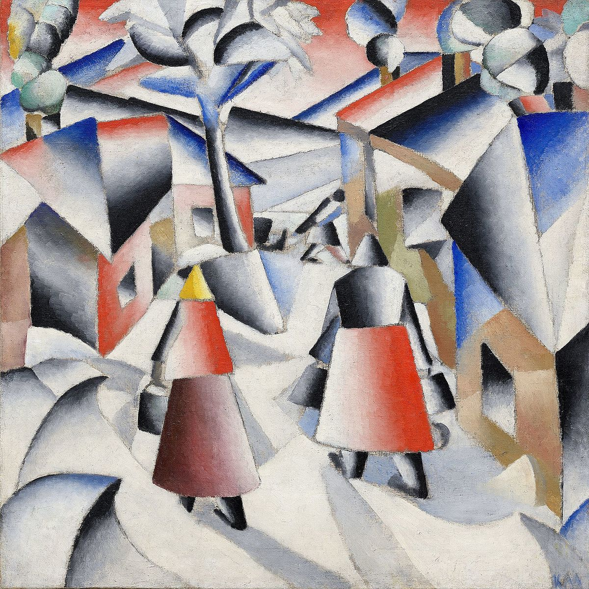 Morning in the Village after Snowstorm by Kazimir Malevich Reproduction Painting