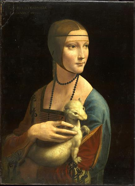 The Lady with an Ermine (Cecilia Gallerani) reproduced by Leonardo da Vinci