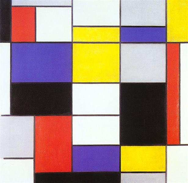 Composition A by Piet Mondrian Reproduction Painting by Blue Surf Art