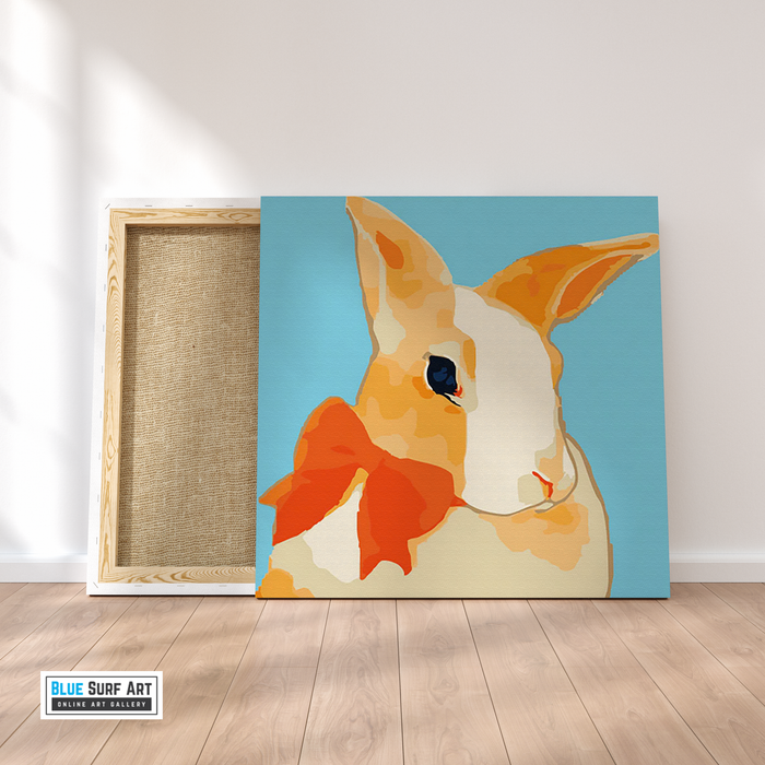 Pretty Rabbit Canvas Art Painting, Animal Pop Art, Room Decor, Wall Art - on frame