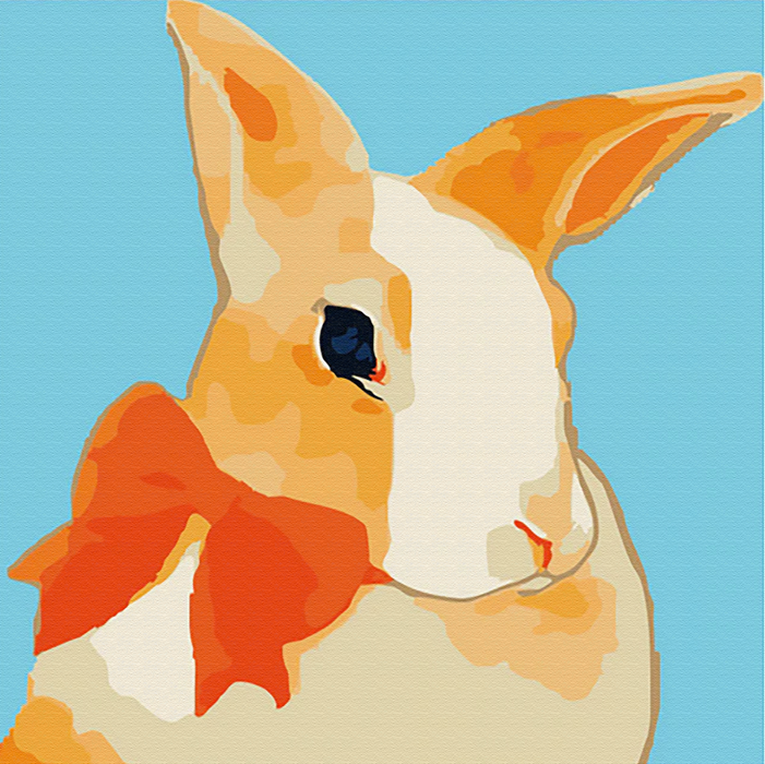 Pretty Rabbit Canvas Art Painting, Animal Pop Art, Room Decor, Wall Art