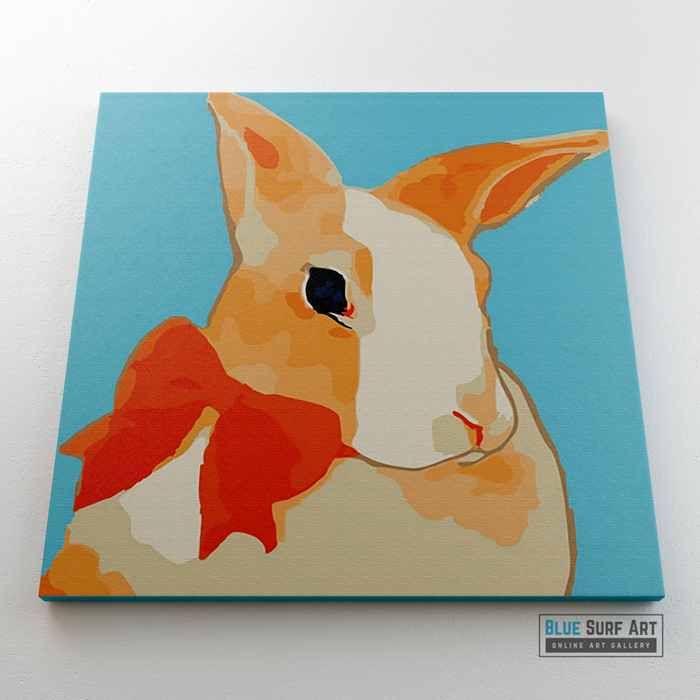 Pretty Rabbit Canvas Art Painting, Animal Pop Art, Room Decor, Wall Art - showcase