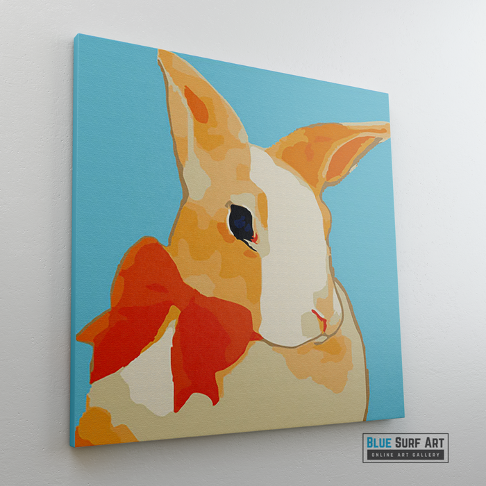 Pretty Rabbit Canvas Art Painting, Animal Pop Art, Room Decor, Wall Art - side way