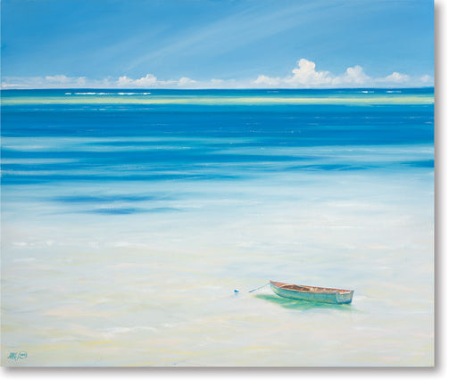 Boat Off Anse Royale, Mahé painting by Derek Hare