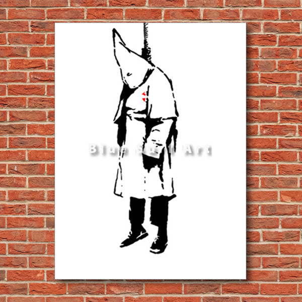 Banksy ku klux klan oil painting on canvas - with red bricks wall