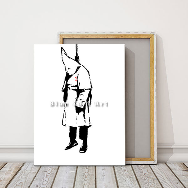 Banksy ku klux klan oil painting on canvas - studio showcase white wall