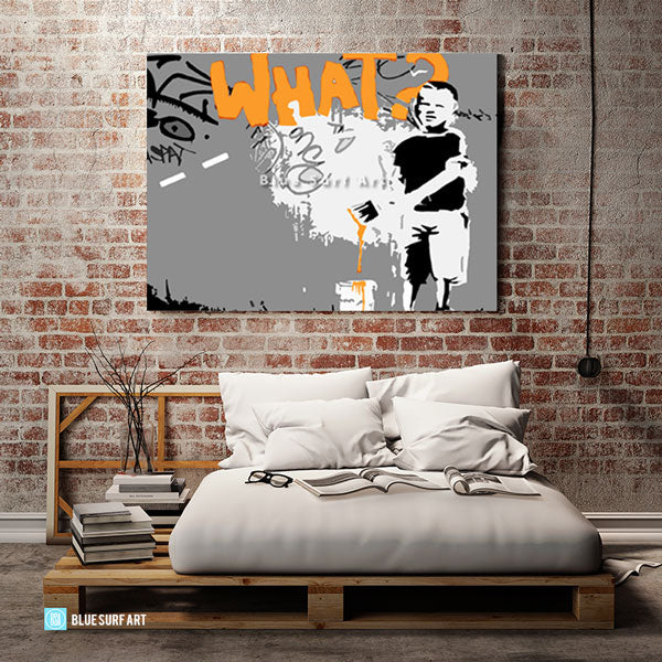 Banksy What Oil Painting on Canvas  - loft bedroom showcase