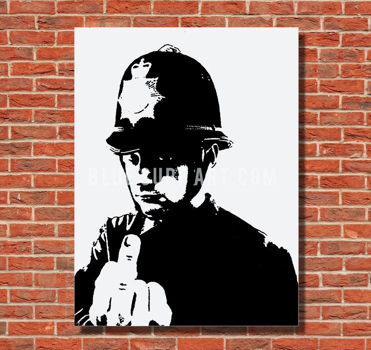 Banksy Angry Policeman 100% Hand Painted Oil Painting on Canvas I BSA - with red bricks