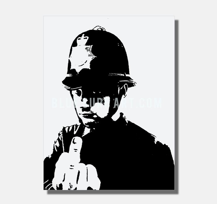 Banksy Angry Policeman 100% Hand Painted Oil Painting on Canvas I BSA