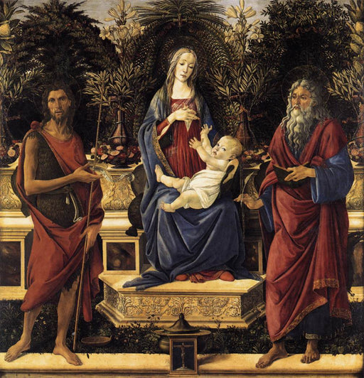 The Virgin and Child Enthroned (Bardi Altarpiece) by Sandro Botticelli I Blue Surf Art