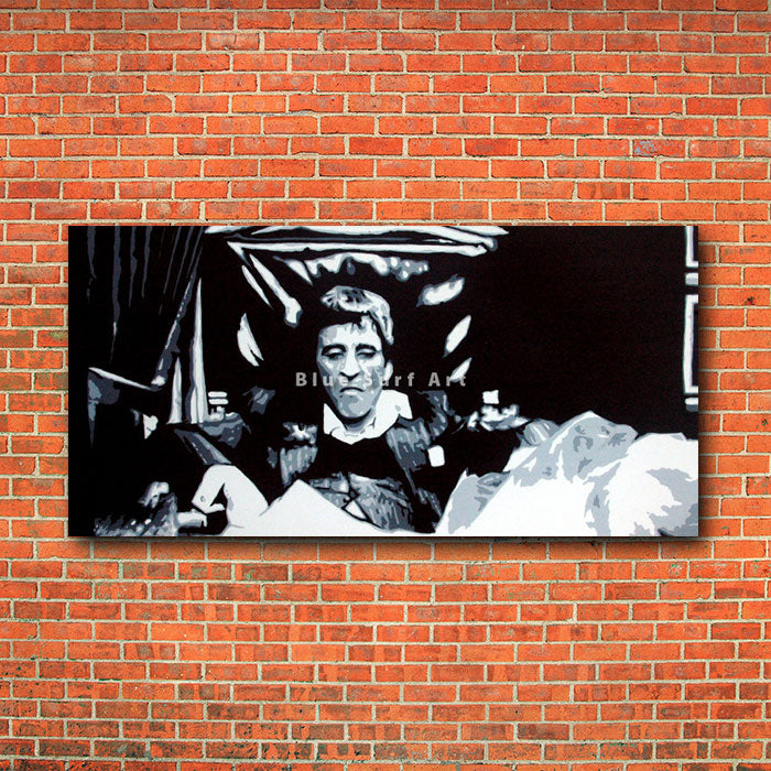 Scarface - Tony Montana Pop Art Paintin - red bricks wall