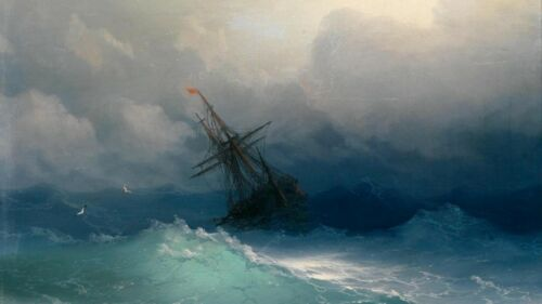 Shipwreck On Stormy Seas by Ivan Aivazovsky Reproduction Painting by Blue Surf Art