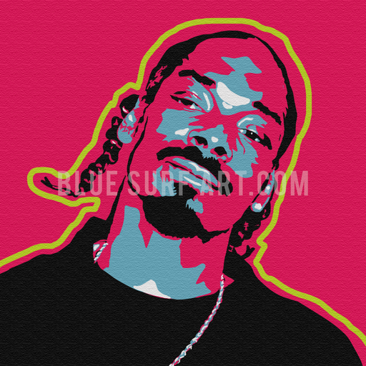 Snoop Dogg Canvas Art Oil Painting, Hip Hop Rapper Wall Art - Blue Surf Art